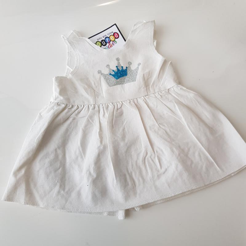 wit katoen jurkje 45 cm