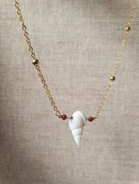 Aviva                -  schelp, jaspis, bergkristal ketting