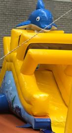 Springkussen glijbaan dolfijn huren (water bad optioneel)