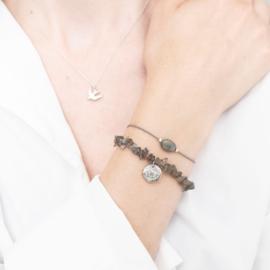 Edelsteen Kaart Labradoriet Zilver Armband