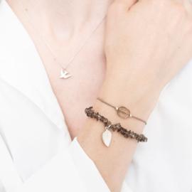 Edelsteen Kaart Rookkwarts Zilver Armband
