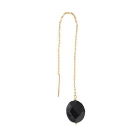 Elegant Zwarte Onyx Sterling Zilver Verguld Oorbel