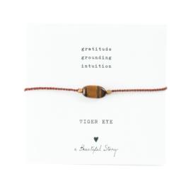 Edelsteen Kaart Tijgeroog Goud Armband