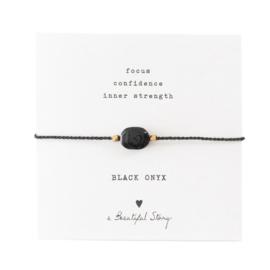 Edelsteen Kaart Zwarte Onyx Goud Armband
