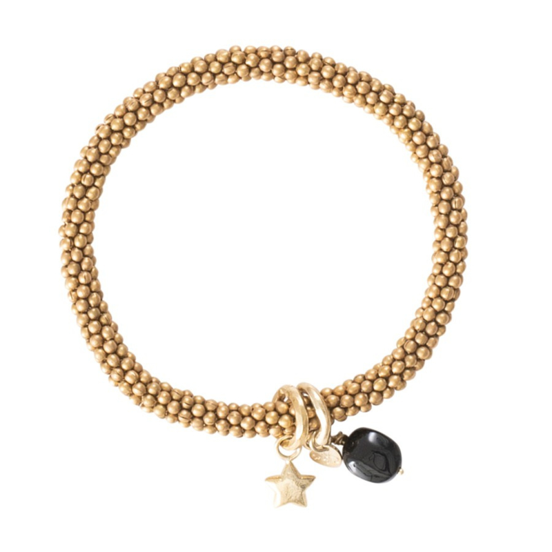 Jacky Zwarte Onyx Ster Goud Armband