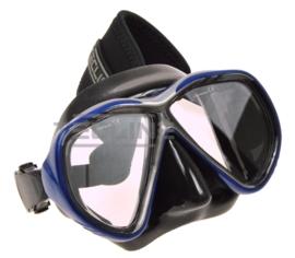 TecLine Tiara mask w/neoprene strap, black silicone, blue frame