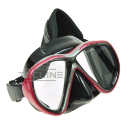 TecLine Tiara mask w/neoprene strap, black silicone, red frame