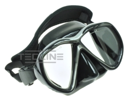 TecLine Tiara mask w/neoprene strap, black silicone, black-silver frame