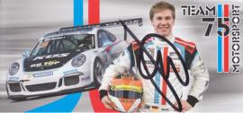 911 Carrera Cup with driver Marek Böckmann, signed, oblong postcard, issued about 2015