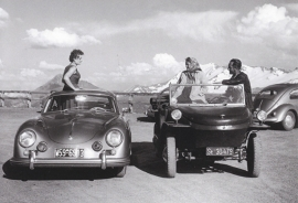 Porsche 356 A Coupe (1957) + Schwimmwagen Type 166, A6-size postcard, factory-museum issue, German
