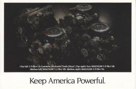 Trucks Engines, US postcard, continental size, 1993