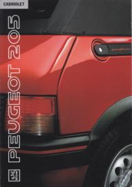 205 Cabriolet brochure, 8 pages, A4-size, 1991, Dutch language