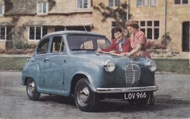 A30 Seven 4-Seater 4-Door Saloon, British factory postcard, # 1002