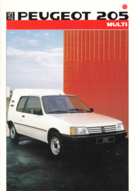 205 Multi Van brochure, 4 pages, A4-size, 1986, Dutch language