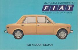 128 4-door Sedan, standard size, US postcard, 1973