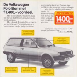 Polo Elan folder, 4 small pages, Dutch language, 8/1982