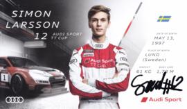 Racing driver Simon Larsson, signed postcard 2016 season, English language
