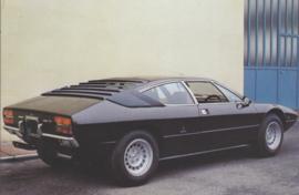 Lamborghini P300 Urraco 1974, collectors card, DIN A6-size, Japanese language, # 28