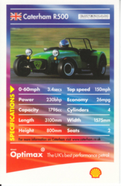 Caterham R500 collector card, small size,  Shell Optimax issue, 2002, UK