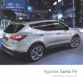 Santa Fe specs. brochure, 6 pages, square, 08/2012, Dutch language