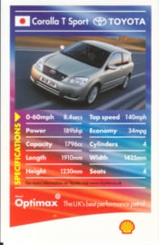 Toyota Corolla T Sport collector card, small size,  Shell Optimax issue, 2002, UK