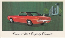 Camaro Sport Coupe, US postcard, standard size, 1969