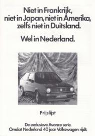 Avance series pricelist brochure, 6 pages,  A4-size, Dutch language, 04/1987