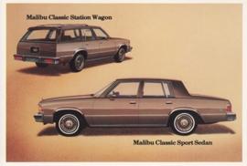 Malibu Classic Sedan & Wagon,  US postcard, standard size, 1981