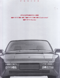 944 S2/Turbo models pricelist brochure, 12 pages, 07/1990, German language