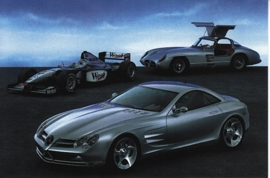 Mercedes-Benz Vision SLR with others, A6-size postcard, NAIAS 1999, English