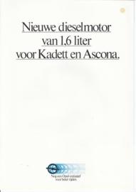 Kadett & Ascona 1,6 Liter Diesel engine brochure, 4 pages, about 1982, Dutch language