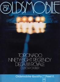 Toronado/98 Regency/Delta 88/Cruiser brochure 1987, 44 large pages, 08/1986, USA