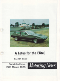 Elite roadtest reprint, 4 pages, 03/1975, factory-issued, English language
