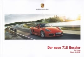 718 Boxster Pricelist  brochure,  76 pages, 01/2016, German language
