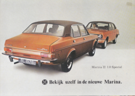 Marina II 1.8 4-Door Special brochure, 4 pages, A4-size, 1976, Dutch language