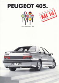 405 Sedan MI 16 Kat leaflet, 2 pages, A4-size, 1988, German language