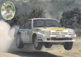 Manta Rallye Champion Guy Fréquellin postcard, DIN A6-size, 1983, French language