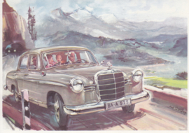 180 Sedan, A6-size, German card with 4 languages, 1960