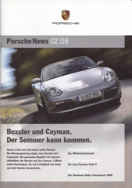 News 02/2008 with Boxster & Cayman, 28 pages, 05/08, German language