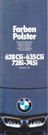 728i-745i/628CSi-635CSi Colours & Upholstery folder, 14 pages, half A4-size, 2/1979, 7 languages