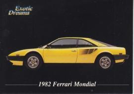 Ferrari Mondial 1982 collector card, small size,  Exotic Dreams issue, 1992 (# 27)