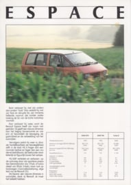 Espace leaflet, 1 page, about 1986, Dutch language, Belgium