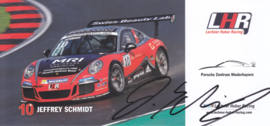 911 Carrera Cup with driver Jeffrey Schmidt, signed, oblong postcard, issued about 2016