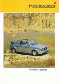 VW Golf Cabriolet by Karmann brochure, 2 pages, about 1987, German language