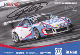911 Carrera Cup with driver Christian Engelhart, DIN A6 size postcard, 2016, German language (signed)