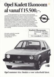 Kadett Ekonoom 1.2S leaflet, 1 page, about 1981, Dutch language