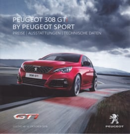 308 GTi pricelist brochure, 4 pages, German language, 10/2018
