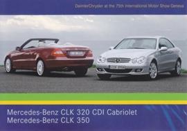 Mercedes-Benz CLK 320 & 350, A6-size postcard, Geneva 2005