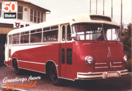 Magirus historic coach postcard, A6-size, English language