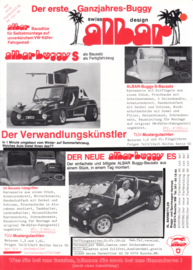 Albar Buggies & Super Beetle leaflet, 2 pages, about 1990, German language